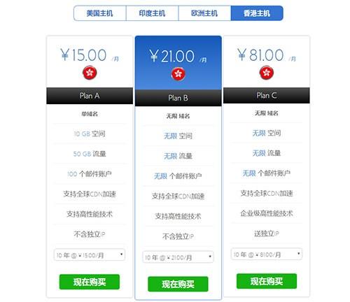 bluehost香港主机套餐与价格