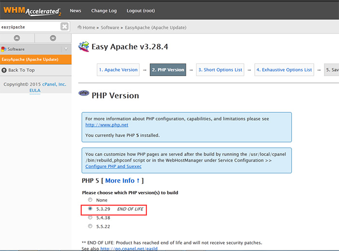 切换成对应的PHP版本