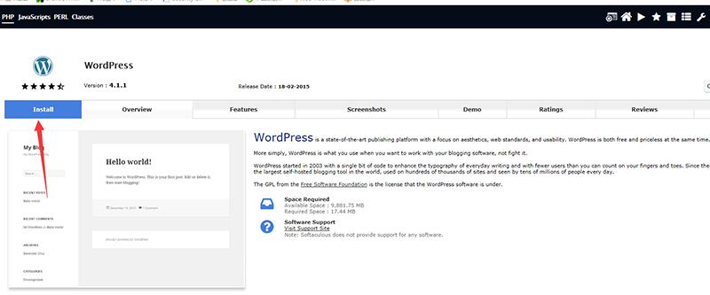 安装WordPress界面
