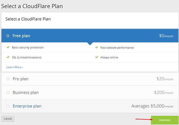 选择cloudflare计划套餐