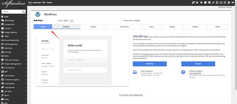 install进入安装页面
