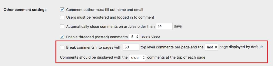 进行分页评论设置