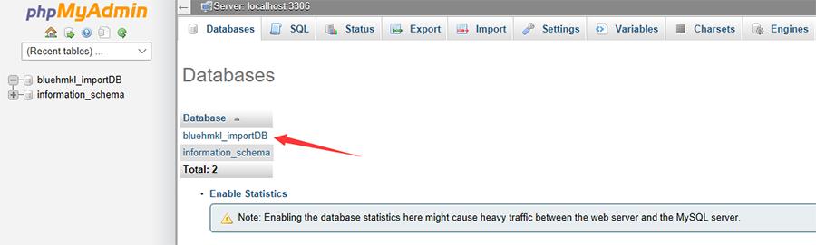 进行数据库的导入