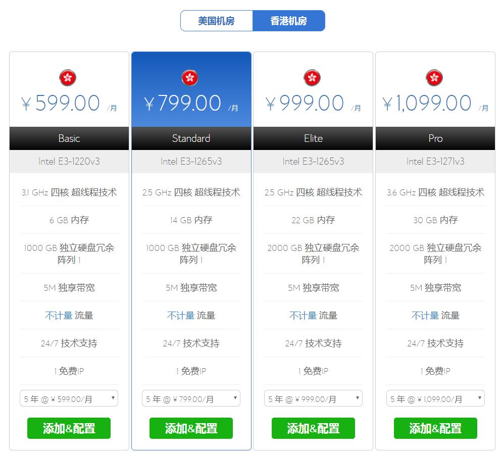 香港服务器套餐价格
