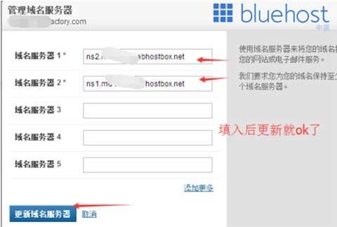 Bluehost的域名解析服务器(DNS)信息