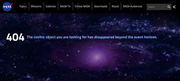 NASA网站的404页面