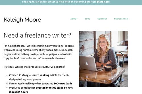 自由作家Kaleigh Moore的网站案例