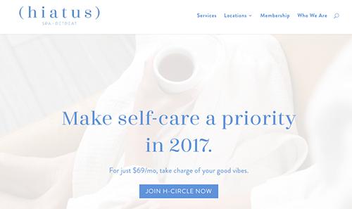 Hiatus Spa + Retreat网站