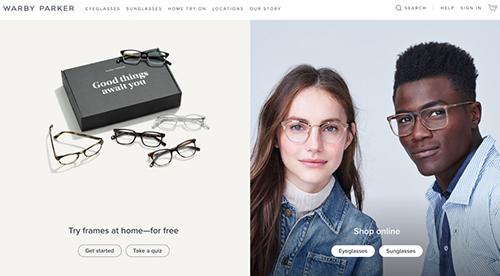 Warby Parker主页面