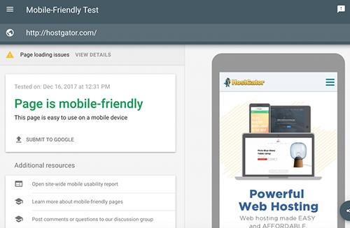 谷歌移动友好型测试页面